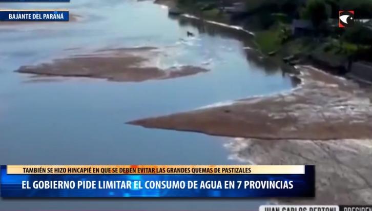 El gobierno pide limitar el consumo de agua en 7 provincias